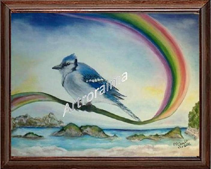 Bluejay on a Rainbow - Acrylic